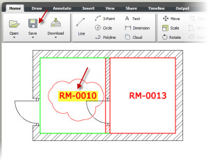 Room number revised in AutoCAD WS on mobile device.